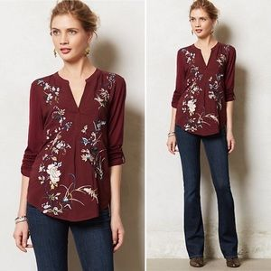 Anthropologie Tiny Chinoiserie Embroidered Henley